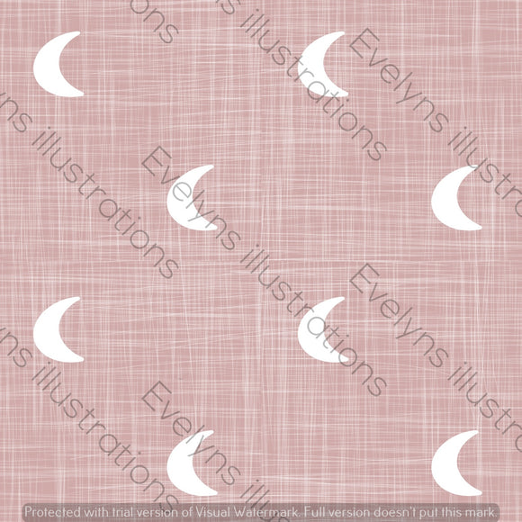 Repeat Illustrated Pattern Digital Download - Non Exclusive | Medium Scale | Blush | Hessian Moons | 6 by 6 Inches - Evelyns Illustrations