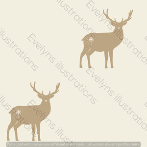 Digital Download - Non Exclusive | Medium Scale | Cream 2 PACK | Stags | 6 by 6 Inches - Evelyns Illustrations