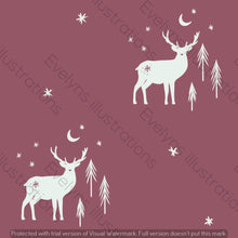 Load image into Gallery viewer, Digital Download - Non Exclusive | Medium Scale | Dusk 2 PACK | Stag and Trees | 6 by 6 Inches - Evelyns Illustrations