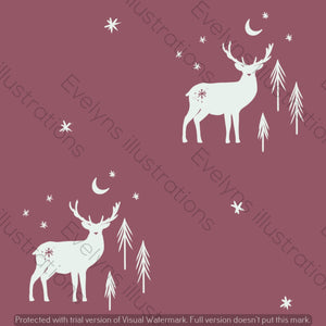 Digital Download - Non Exclusive | Medium Scale | Dusk 2 PACK | Stag and Trees | 6 by 6 Inches - Evelyns Illustrations