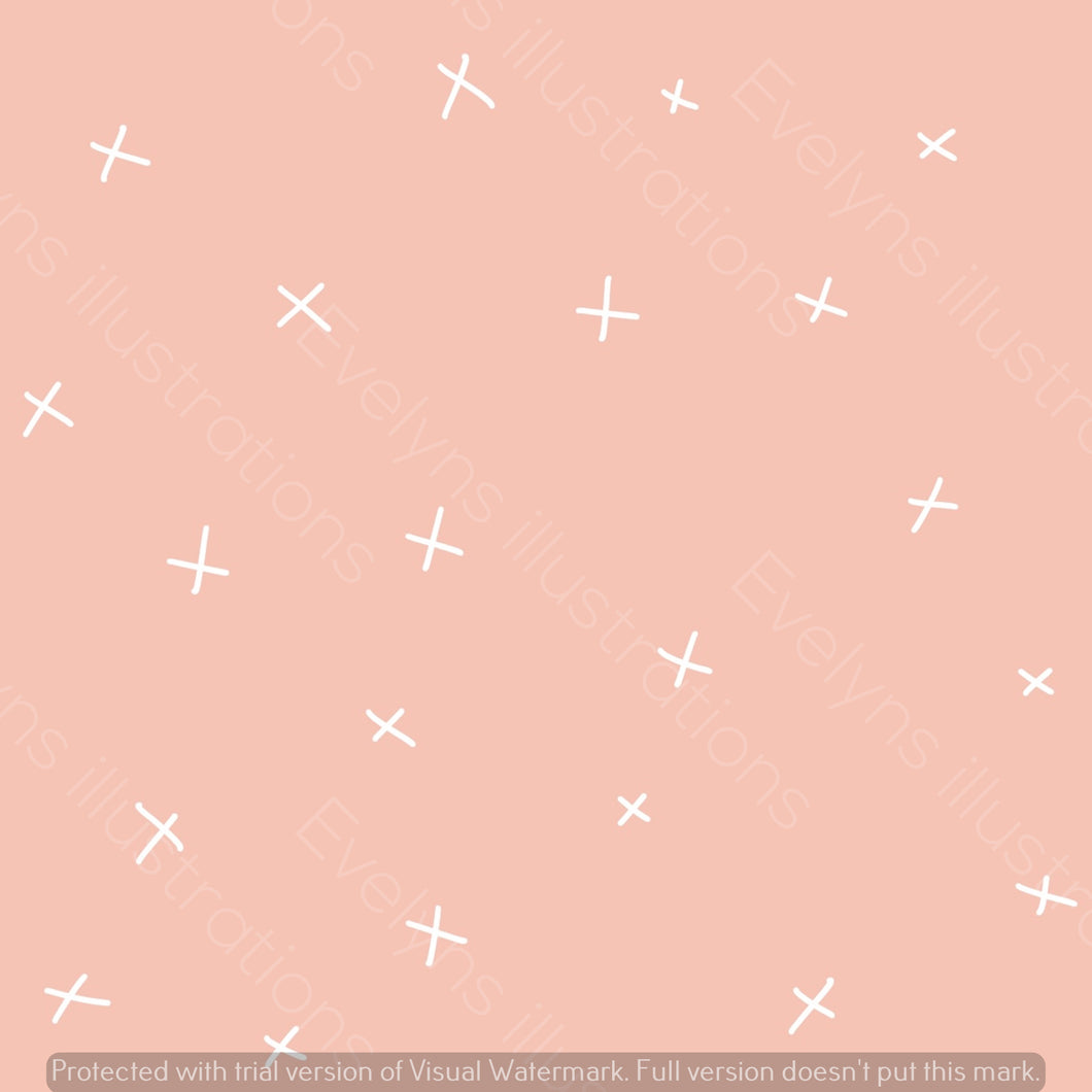 Repeat Illustrated Pattern Digital Download - Non Exclusive | Medium Scale | Rose Pink | Calm Crosses | 6 by 6 Inches | Oh Baby Blue Collection - Evelyns Illustrations