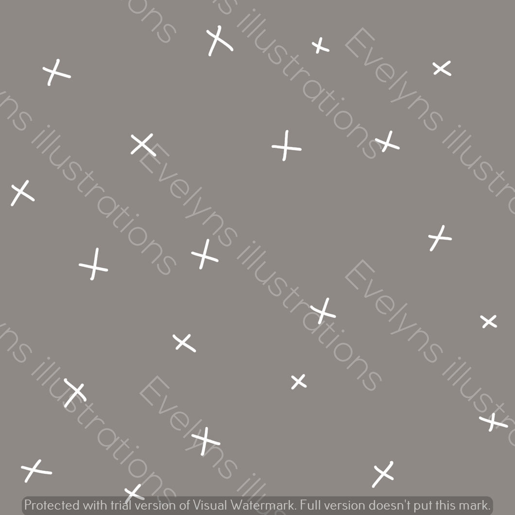 Repeat Illustrated Pattern Digital Download - Non Exclusive | Medium Scale | Charocal Grey | Calm Crosses | 6 by 6 Inches - Evelyns Illustrations