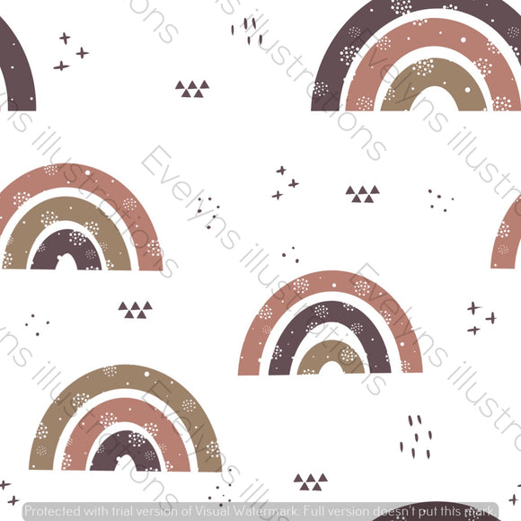 Repeat Illustrated Pattern Digital Download - Non Exclusive | Medium Scale | Rustic | Plain Rainbows | 6 by 6 Inches - Evelyns Illustrations