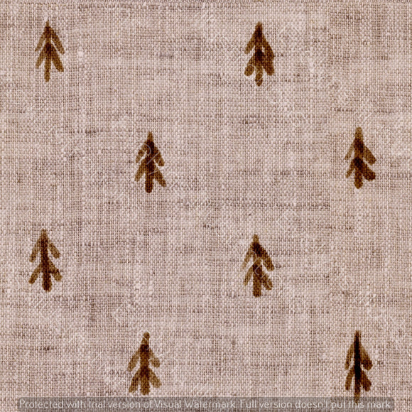 Repeat Illustrated Pattern Digital Download - Non Exclusive | Medium Scale | Brown | Little Linen Trees | 5.25 by 5.25 Inches - Evelyns Illustrations
