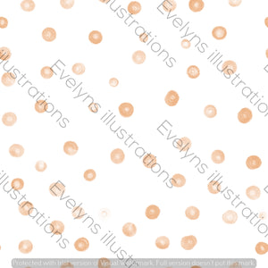 Digital Download - Non Exclusive | Small Scale | Warm Orange | Blush Dots | 2.5 by 2.5 Inches - Evelyns Illustrations