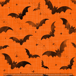 Repeat Illustrated Pattern Digital Download - Non Exclusive | Medium Scale | 2 PACK Orange | Bats | 5 by 5 Inches - Evelyns Illustrations