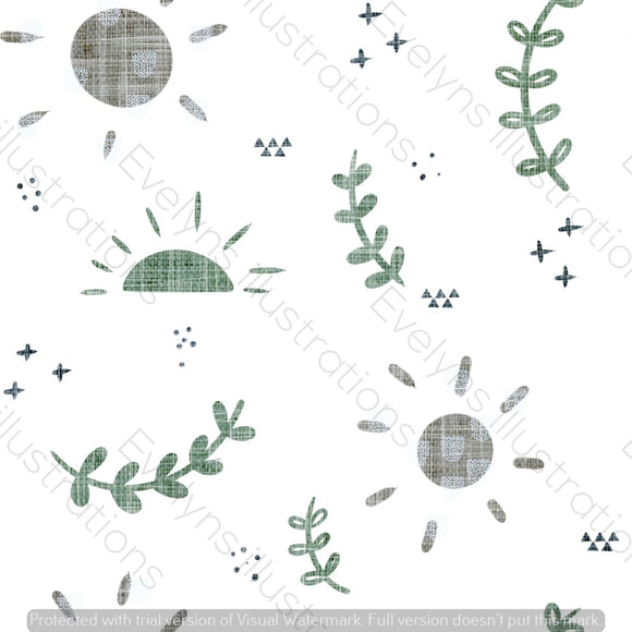 Digital Download - Non Exclusive | Medium Scale | Grey and Olive | Soft Sun Skies | 6 by 6 inches