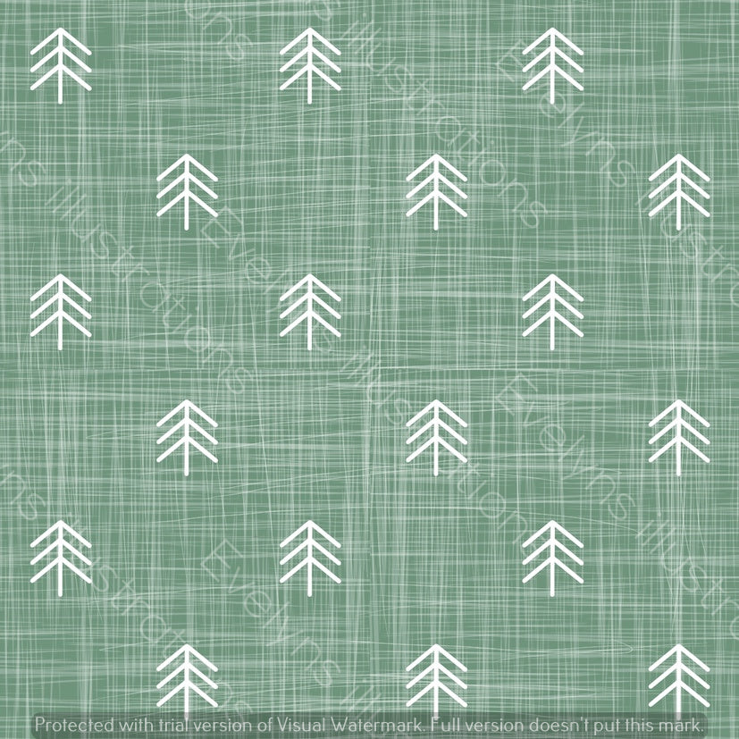 Digital Download - Non Exclusive | Small Scale | Meadow Green | Hessian Trees | 2.6 by 2.6 Inches - Evelyns Illustrations