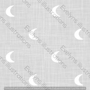 Digital Download - Non Exclusive | Medium Scale | Light Grey | Hessian Moons | 6 by 6 Inches - Evelyns Illustrations