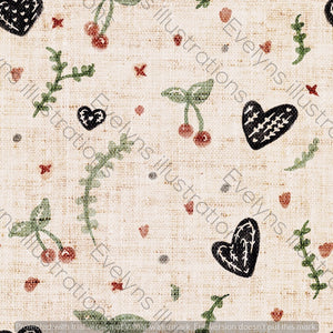 Digital Download - Non Exclusive | Small Scale | Rustic Texture | Cute Country Hearts | 3.5 by 3.5 Inches - Evelyns Illustrations