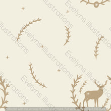 Load image into Gallery viewer, Digital Download - Non Exclusive | Medium Scale | Cream 2 PACK | Stag in Leaves | 6 by 6 Inches - Evelyns Illustrations