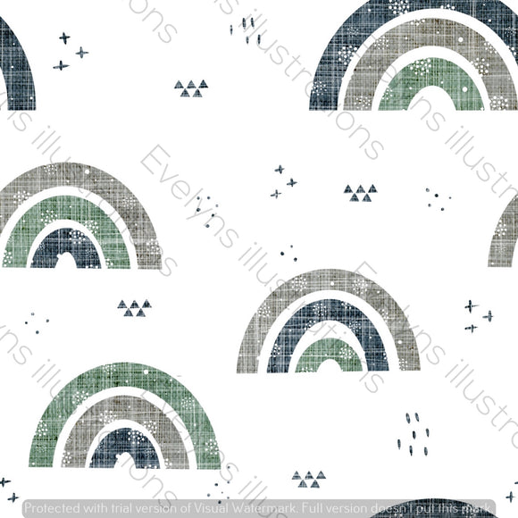 Repeat Illustrated Pattern Digital Download - Non Exclusive | Medium Scale | Earth and Sky | Textured Rainbows | 6 by 6 Inches - Evelyns Illustrations
