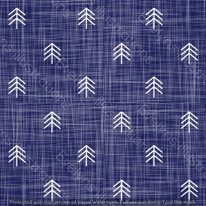 Digital Download - Non Exclusive | Small Scale | Royal Blue | Hessian Trees | 2.6 by 2.6 Inches - Evelyns Illustrations