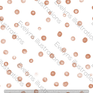 Repeat Illustrated Pattern Digital Download - Non Exclusive | Medium Scale | Rust | Blush Dots | 6 by 6 Inches - Evelyns Illustrations