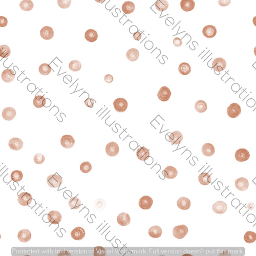 Digital Download - Non Exclusive | Small Scale | Rust | Blush Dots | 2.5 by 2.5 Inches - Evelyns Illustrations