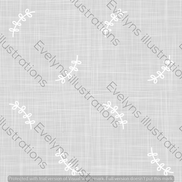 Digital Download - Non Exclusive | Medium Scale | Light Grey | Simple Leaves | 6 by 6 Inches - Evelyns Illustrations