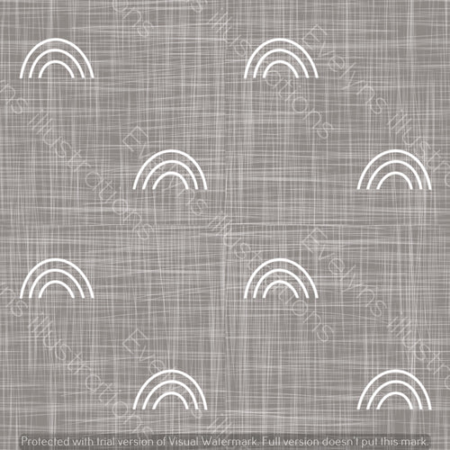 Repeat Illustrated Pattern Digital Download - Non Exclusive | Medium Scale | Charcoal Grey | Hessian Rainbows | 6 by 6 Inches - Evelyns Illustrations