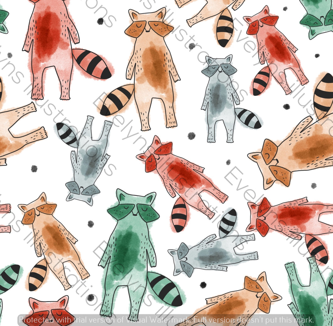 Repeat Illustrated Pattern Digital Download - Non Exclusive | Racoons | 7 by 7 Inches - Evelyns Illustrations