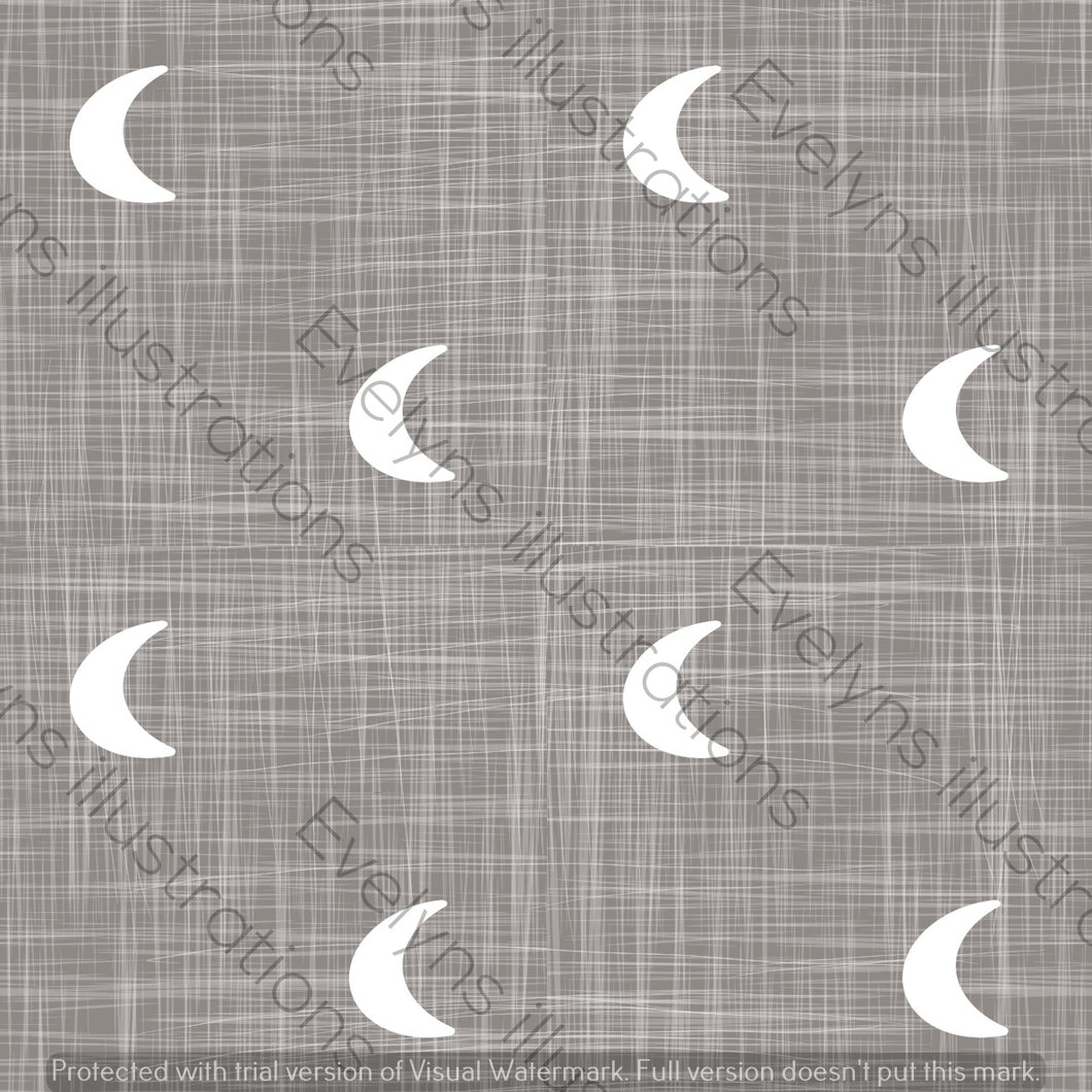 Repeat Illustrated Pattern Digital Download - Non Exclusive | Medium Scale | Charcoal | Hessian Moons | 6 by 6 Inches - Evelyns Illustrations