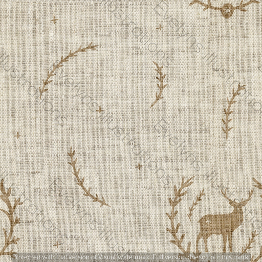 Digital Download - Non Exclusive | Medium Scale | Cream 2 PACK | Stag in Leaves | 6 by 6 Inches - Evelyns Illustrations