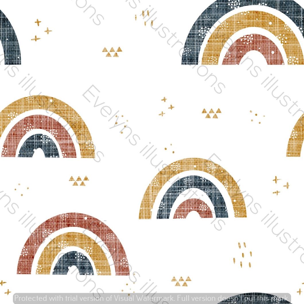 Repeat Illustrated Pattern Digital Download - Non Exclusive | Medium Scale | Retro | Textured Rainbows | 6 by 6 Inches - Evelyns Illustrations