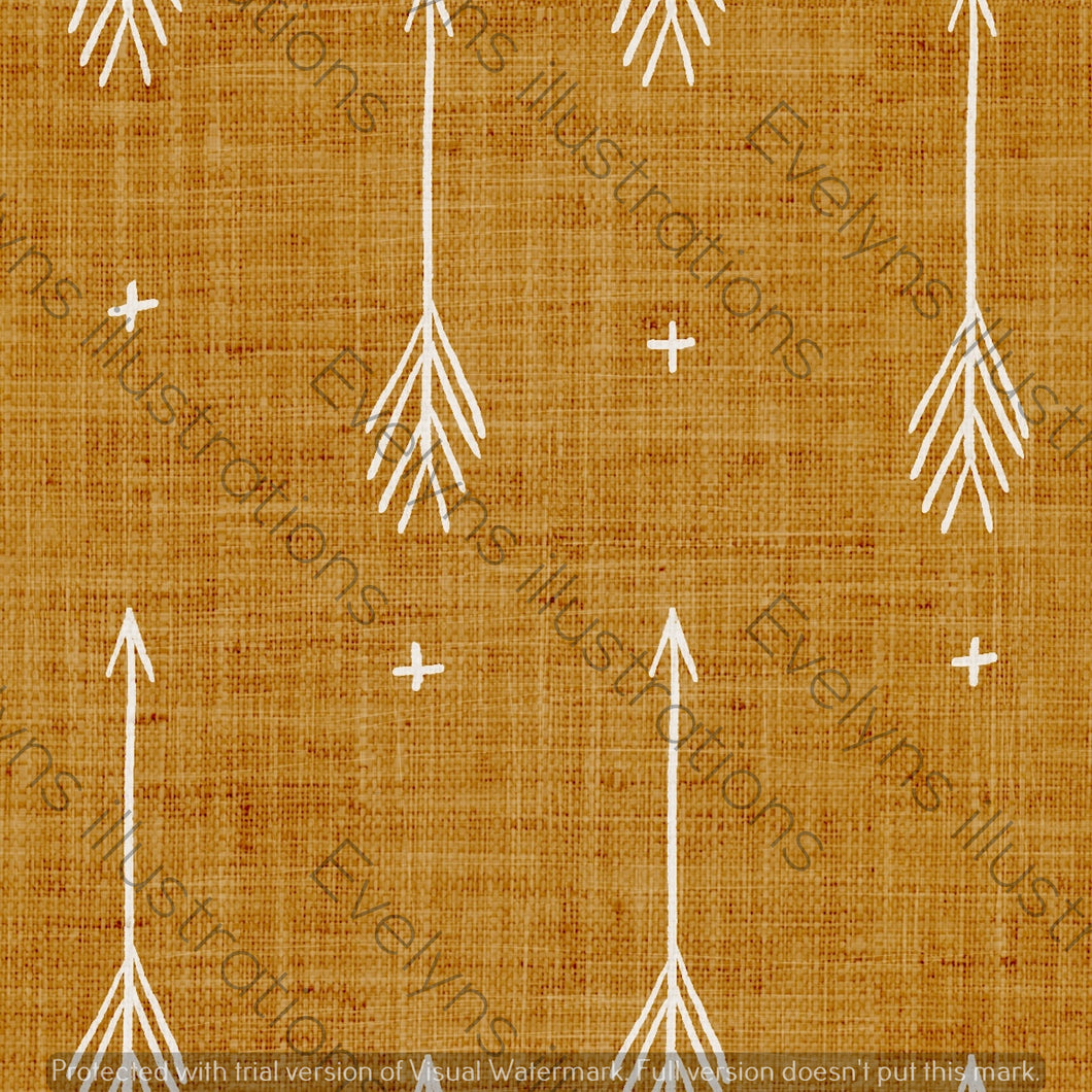 Digital Download - Non Exclusive | Medium Scale | Mustard | Sketch Arrows | 5.5 by 5.5 Inches - Evelyns Illustrations