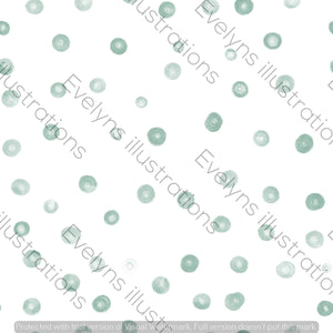 Repeat Illustrated Pattern Digital Download - Non Exclusive | Large Scale | Teal | Blush Dots | 9 by 9 Inches - Evelyns Illustrations