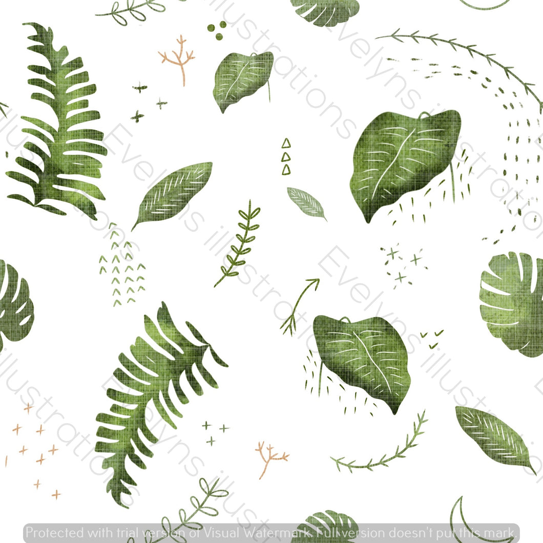 Digital Download - Non Exclusive | Medium Scale | White| The Jungle Tiger Tropcial Leaves | 6 by 6 Inches Jungle Tiger Collection