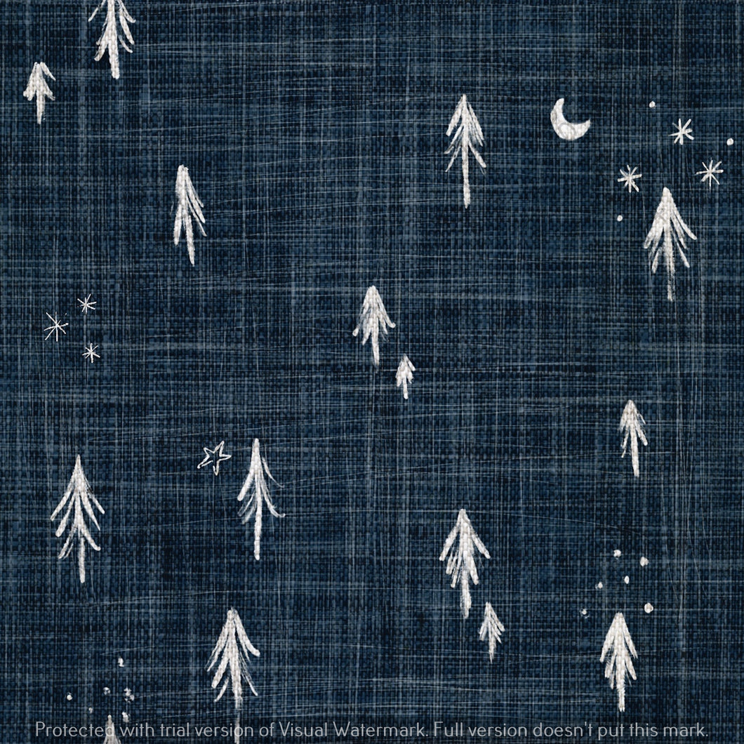 Digital Download - Non Exclusive | Medium Scale | Navy 2 PACK | Little Forest Trees | 6 by 6 Inches - Evelyns Illustrations
