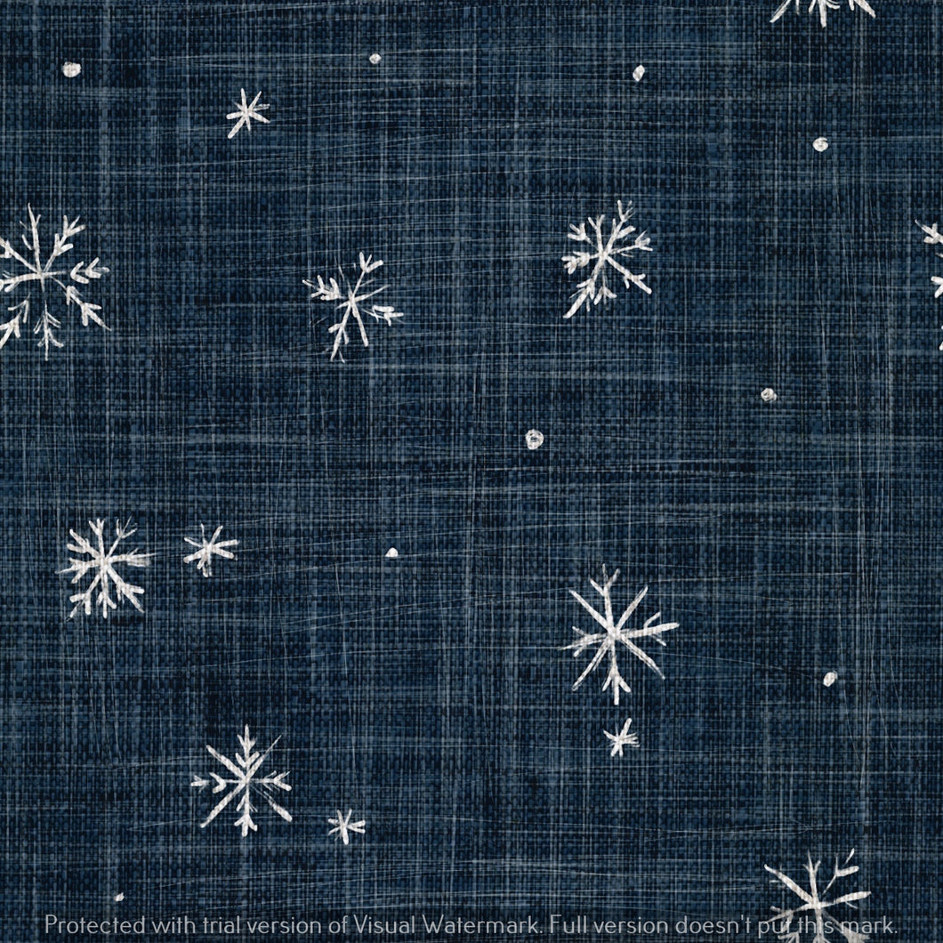 Digital Download - Non Exclusive | Medium Scale | Navy 2 PACK | Snowflakes | 6 by 6 Inches - Evelyns Illustrations