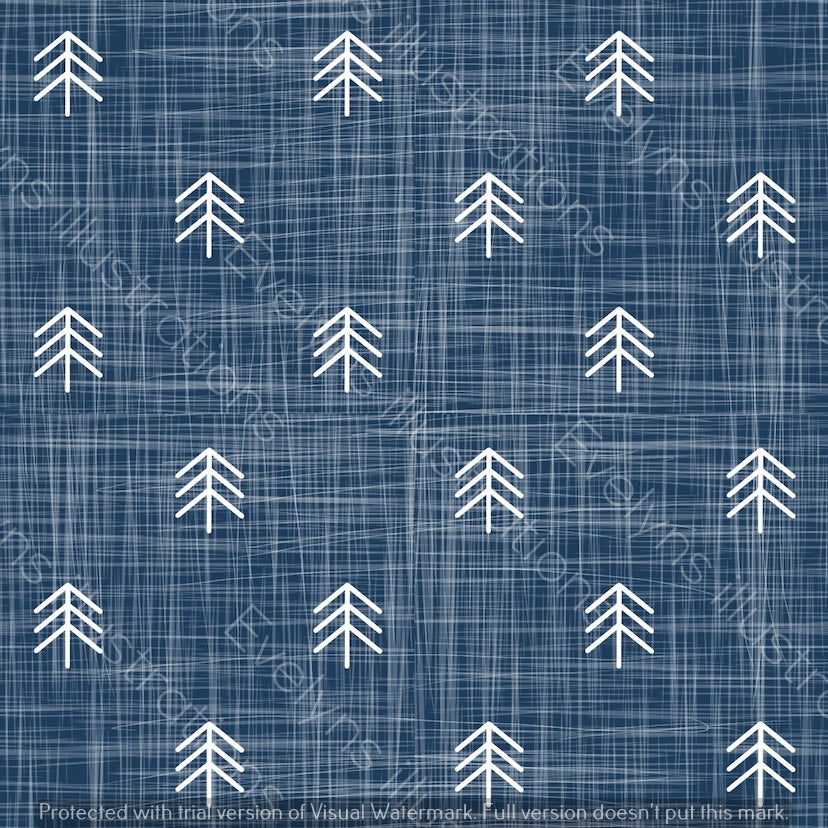 Repeat Illustrated Pattern Digital Download - Non Exclusive | Small Scale | Blue Denim | Hessian Trees | 2.6 by 2.6 Inches - Evelyns Illustrations