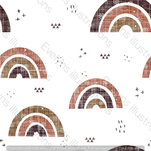 Repeat Illustrated Pattern Digital Download - Non Exclusive | Medium Scale | Rustic | Textured Rainbows | 6 by 6 Inches - Evelyns Illustrations