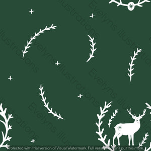 Digital Download - Non Exclusive | Medium Scale | Forest Green 2 PACK | Stag in Leaves | 6 by 6 Inches - Evelyns Illustrations