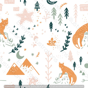 Digital Download - Non Exclusive | Medium Scale | White | Scandi Fox | 6 by 6 Inches Scandi Fox Collection