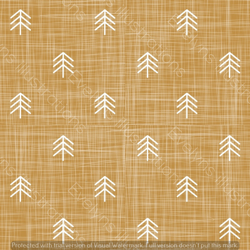 Digital Download - Non Exclusive | Small Scale | Mustard | Hessian Trees | 2.6 by 2.6 Inches - Evelyns Illustrations