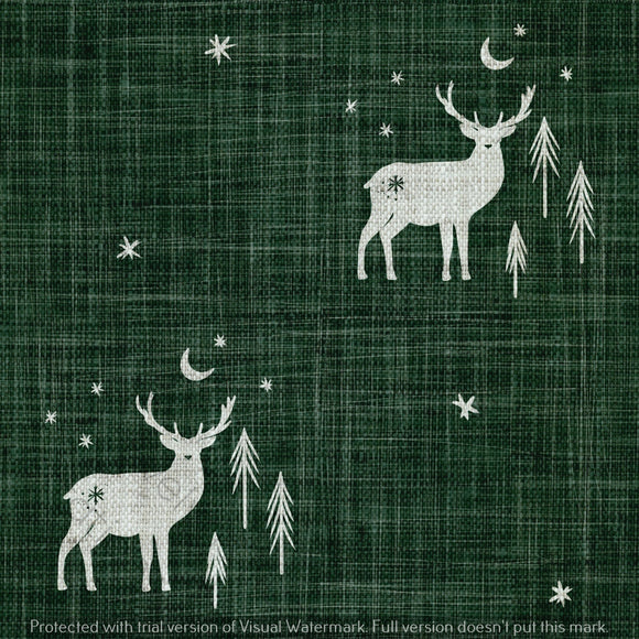 Digital Download - Non Exclusive | Medium Scale | Forest Green 2 PACK | Stag and Trees | 6 by 6 Inches - Evelyns Illustrations