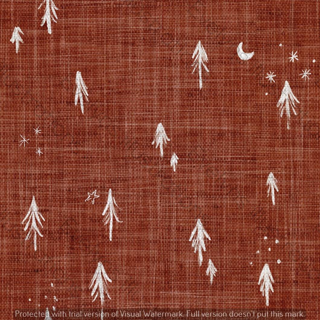 Digital Download - Non Exclusive | Medium Scale | Rust 2 PACK | Little Forest Trees | 6 by 6 Inches - Evelyns Illustrations