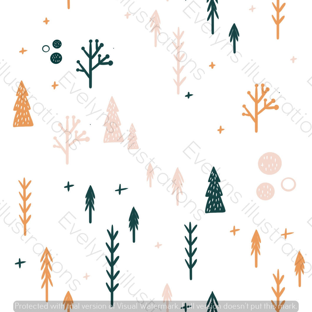 Digital Download - Non Exclusive | Medium Scale | White | Scandi Fox Trees | 6 by 6 Inches Scandi Fox Collection