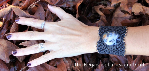 Beautiful, elegant women cuff with natural stone cabochon and beads. Polkadot Agate