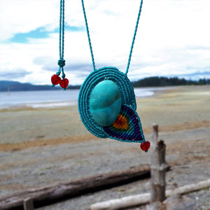 Rainbow Necklace - Chrysocolla cabochon and Crackled Glass Heart beads
