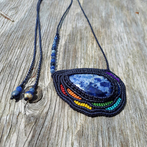 Rainbow Necklace - Sodalite cabochon and beads