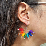 Rainbow Earrings - Fine Silver with TOHO glass beads