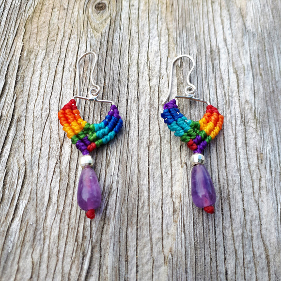 Rainbow Earrings - Fine Silver with Amethyst and Sterling Silver beads