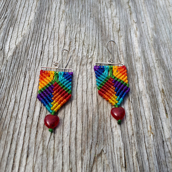 Rainbow Earrings - Fine Silver Rainbow Heart