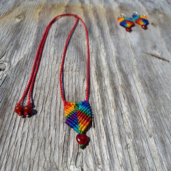 Rainbow Necklace - Rainbow Heart
