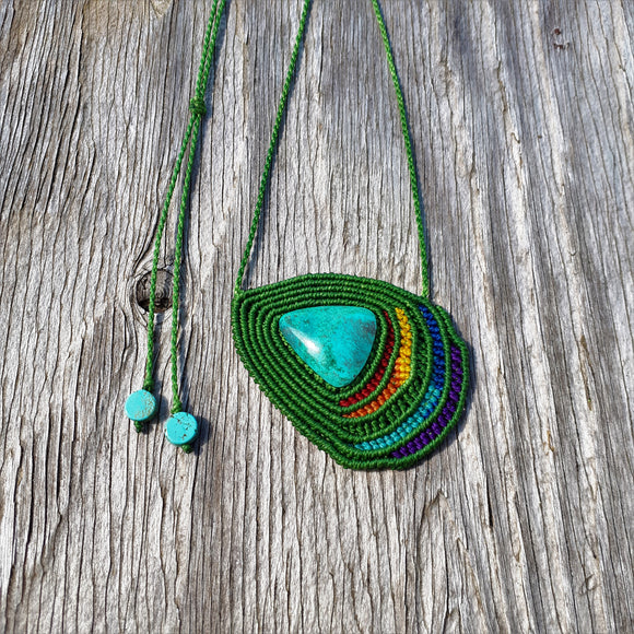 Rainbow Necklace - Chrysocolla cabochon and Turquoise beads