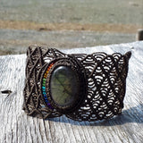 Rainbow Cuff - Labradorite cabochon and beads