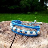 Earthy Embrace Bracelet with Pearls - Sky Blue thread