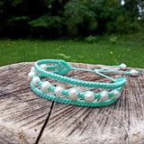 Earthy Embrace Bracelet with Pearls - Aqua thread