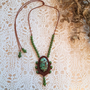 Pendant Necklace - African Turquoise cabochon and BC Jade beads